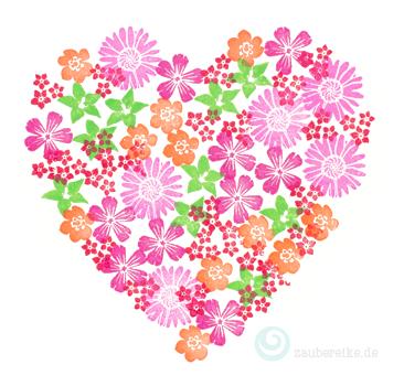Gestempeltes Herz mit Blütenmotiven